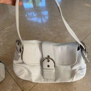 coach white soho hobo leather bag
